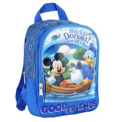 Mickey Mouse & Donald | Kinder Rucksack blau | 25 x 23 x 10 cm | Micky Maus