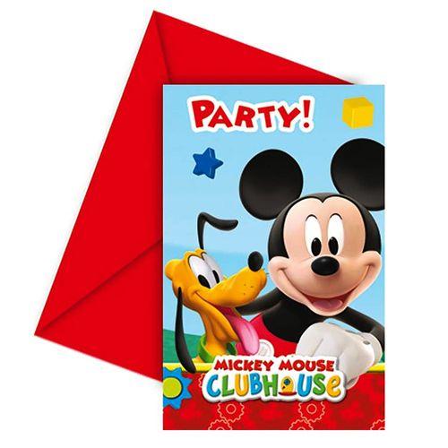 Einladungskarten Mickey Mouse | 6 Stück | Micky Maus | Kinder Party Geburtstag