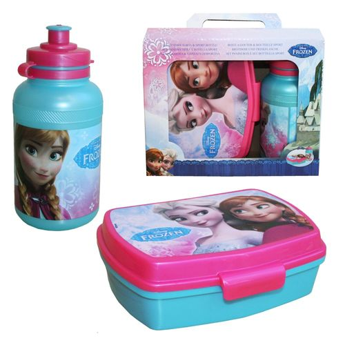 Set Brotdose & Trinkflasche Frozen | Disney Eiskönigin | Wasser-Flasche | Dose – Bild 1