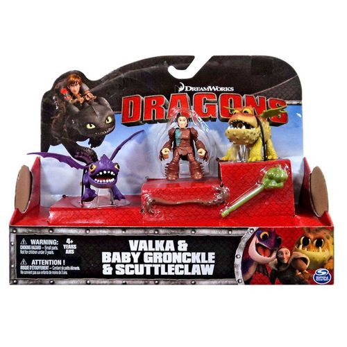 Baby Drache Gronckle,Scuttleclaw & Valka | DreamWork Dragons | Action Spiel Set