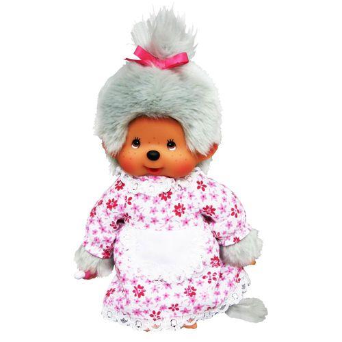 Großmutter Oma | 20 cm | Monchhichi Puppe | Mädchen | Omi mit grauem Fell – Bild 2