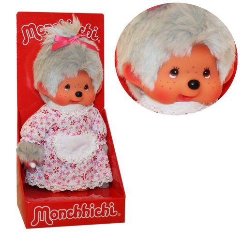 Großmutter Oma | 20 cm | Monchhichi Puppe | Mädchen | Omi mit grauem Fell – Bild 1