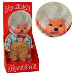 Großvater Opa | 20 cm | Monchhichi Puppe | Junge | Opi mit grauem Fell