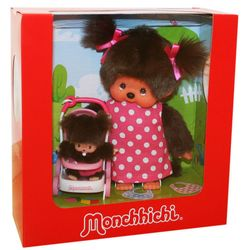 Kinderwagenset | 20 cm | Monchhichi Puppe | Mutti mit Kind und Kinderwagen