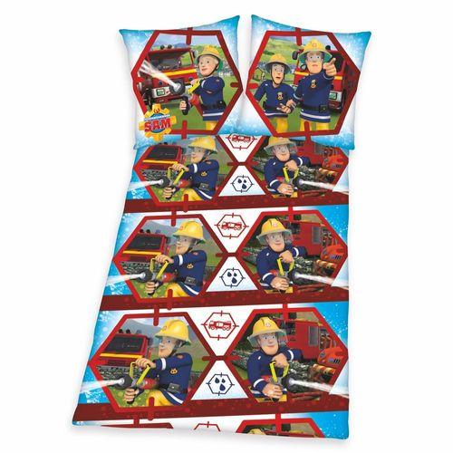 Sam | Bettwäsche | Baumwolle 135 x 200 cm | Feuerwehrmann Sam | Kinder Garnitur