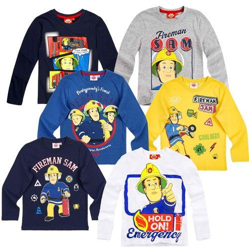 Jungen Langarm Shirt Sam | Größe 98 - 128 | Feuerwehrmann Sam | Kinder Shirt – Bild 1