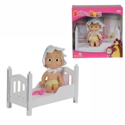 Puppe Mascha mit Bett | Mascha und der Bär | Spielset | 12 cm 001