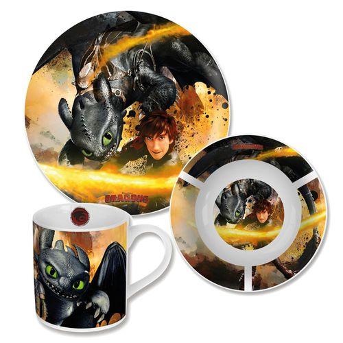 Geschirr-Frühstück-Set | Porzellan | Dragons | Ohnezahn | 3-teilig – Bild 1