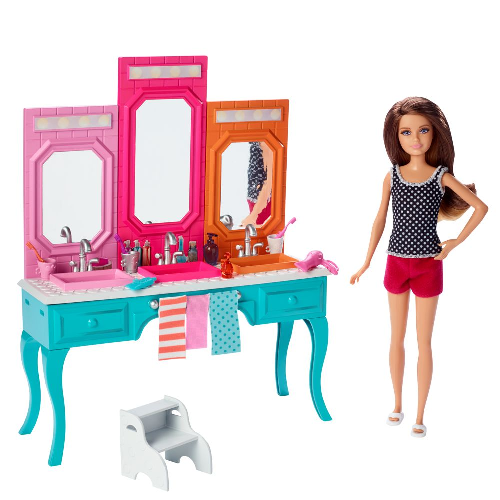 barbie m bel einrichtung bad badezimmer waschtisch mit puppe skipper ebay. Black Bedroom Furniture Sets. Home Design Ideas
