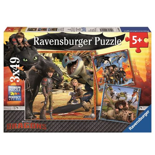 Kinder Puzzle Box | 3 x 49 Teile | DreamWorks Dragons  | Ravensburger – Bild 1