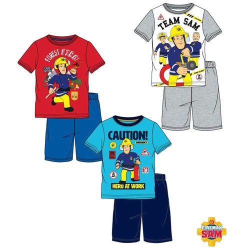 Schlafanzug kurz | Größe 98 - 128 | Feuerwehrmann Sam | Kinder Shorty Pyjama – Bild 1
