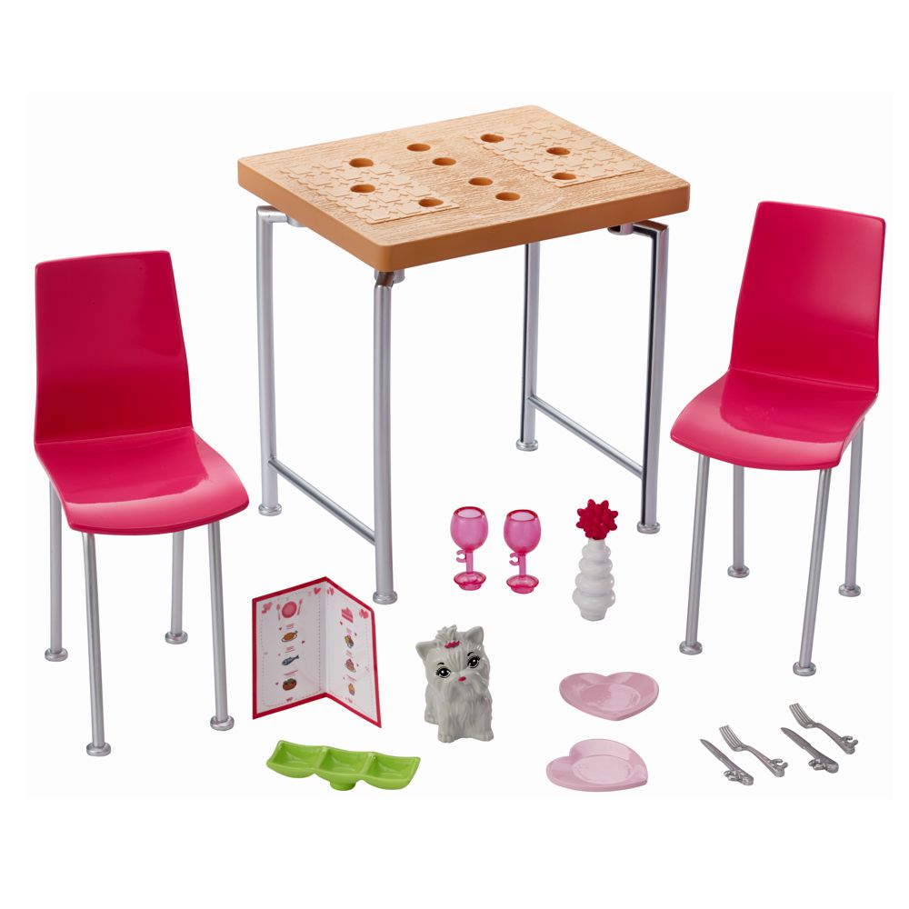 tisch st hle mit zubeh r barbie mattel dvx45 m bel. Black Bedroom Furniture Sets. Home Design Ideas