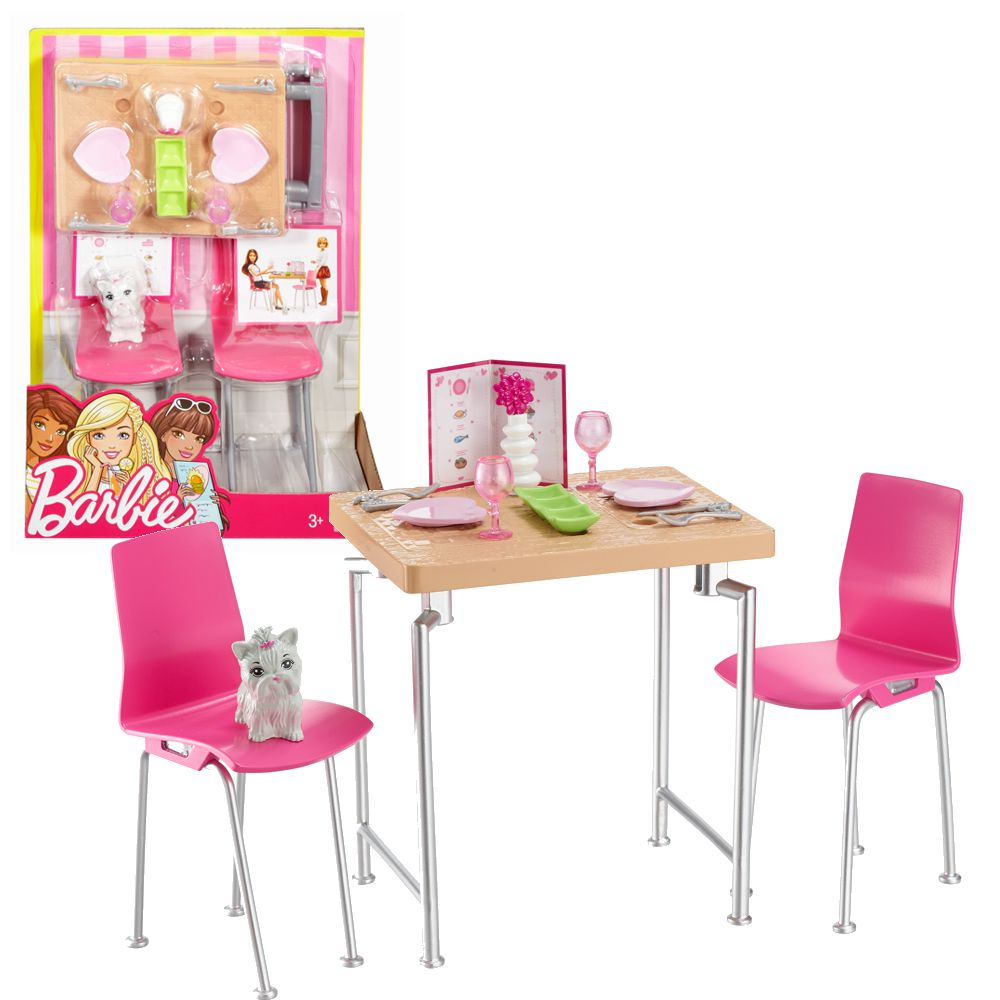 barbie m bel einrichtung esszimmer tisch st hle mit zubeh r ebay. Black Bedroom Furniture Sets. Home Design Ideas