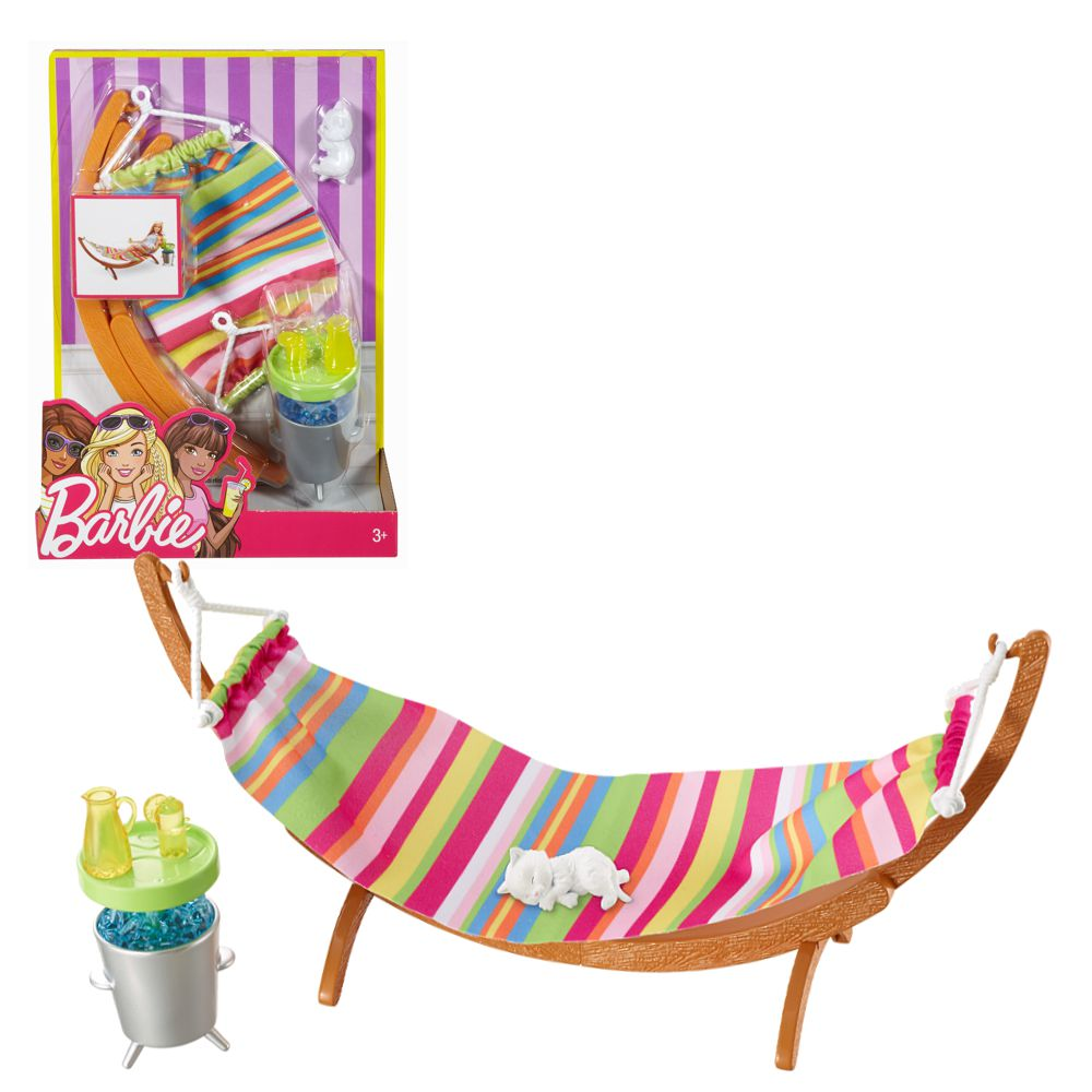 h ngematte set zubeh r barbie mattel dvx47 outdoor garten m bel barbie haus m bel. Black Bedroom Furniture Sets. Home Design Ideas