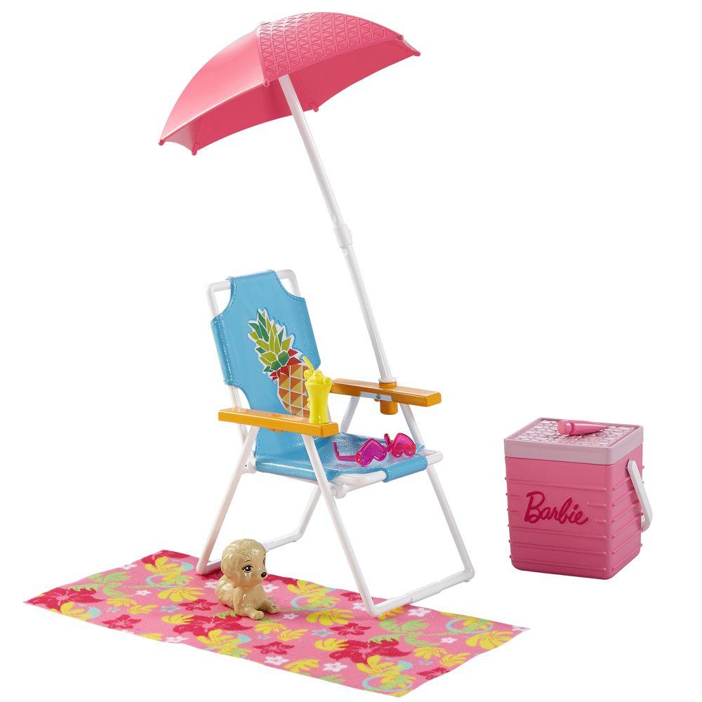 strand ausflug set zubeh r barbie mattel dvx49 outdoor garten m bel barbie haus m bel. Black Bedroom Furniture Sets. Home Design Ideas