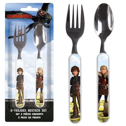 Besteck-Set | Hicks & Astrid | Dragons | 2-teilig | Gabel und Löffel für Kinder – Bild 1