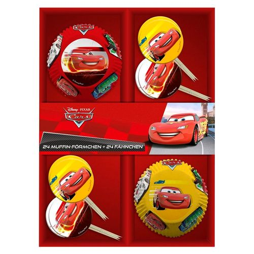 24 Muffin-Förmchen & Fähnchen | Disney Cars | Dekoration Back-Set