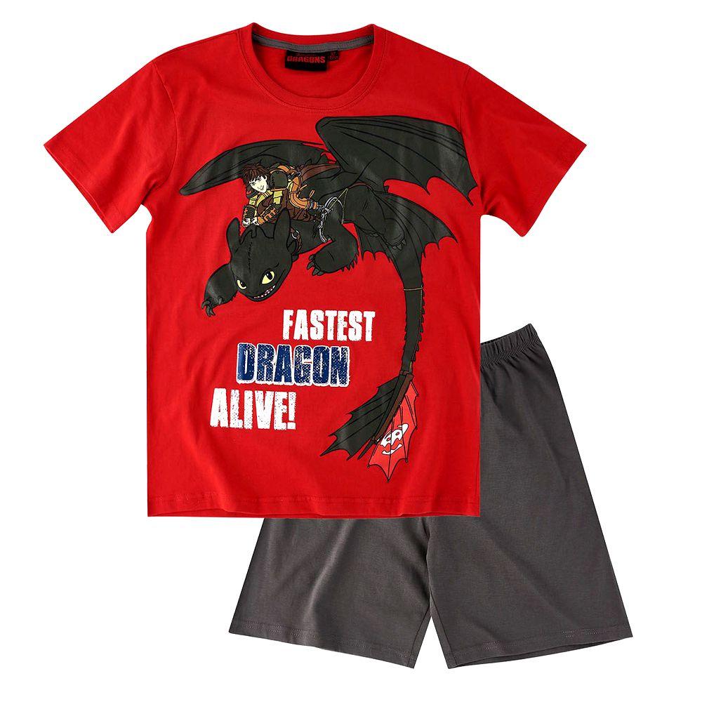196cd84eb2 Kinder Shorty Pyjama   Gr. 116 - 152   DreamWorks Dragons   Schlafanzug kurz  –