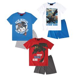 Kinder Shorty Pyjama | Gr. 116 - 152 | DreamWorks Dragons | Schlafanzug kurz