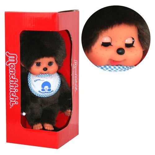 Schlafaugen-Junge   20 cm   Monchhichi Puppe   Junge   mit blauem Latz – Bild 1