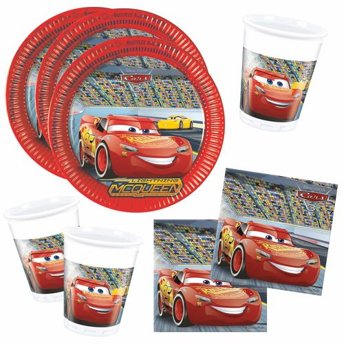 Set Party | Einweg-Geschirr Race | Disney Cars | Teller Becher Servietten