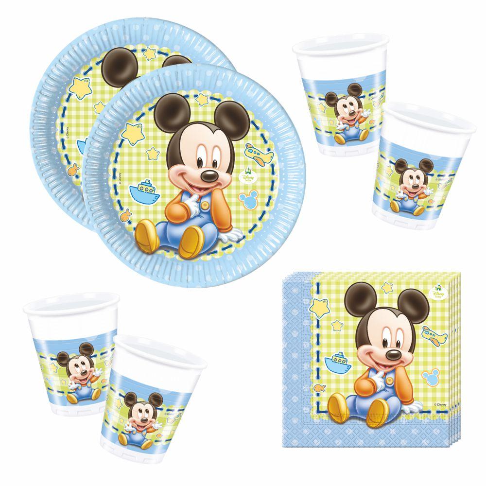 set party einweg geschirr baby mouse micky maus teller becher servietten micky maus. Black Bedroom Furniture Sets. Home Design Ideas