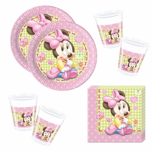 Set Party | Einweg-Geschirr Baby Mouse | Minnie Maus | Teller Becher Servietten – Bild 1
