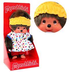 Pyjama - Girl | 20 cm | Monchhichi Puppe | Mädchen | Schlafanzug bunt gepunktet