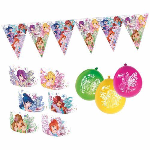 Set Party Dekoration | Butterflix | Winx Club | Wimpelkette Ballons Stirnbänder