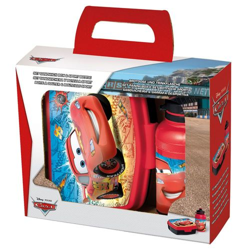 Set Brotdose & Trinkflasche Race | Disney Cars | Wasser-Flasche | Brotbüchse – Bild 1
