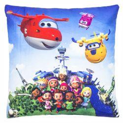 Rundflug | Kinder Kissen 35 x 35 cm | Super Wings | Kuschelkissen | Dekokissen