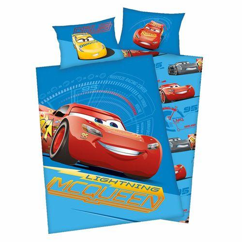 Wende Bettwäsche blau | Baumwolle 100 x 135 cm | Disney Cars | Garnitur