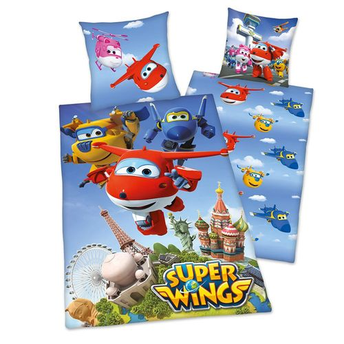 Wende Bettwäsche | Baumwolle 135 x 200 cm | Super Wings | Kinder Garnitur – Bild 1