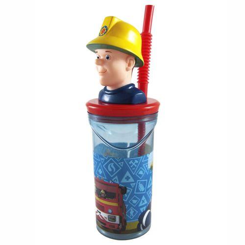 Maxi Trink-Becher | mit 3D-Figur & Strohhalm | 300 ml | Feuerwehrmann Sam