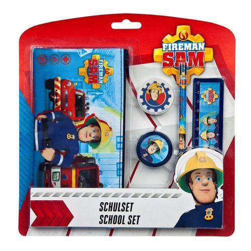 Geschenk Schul-Set | Feuerwehrmann Sam | 5-teilig | mit Faulenzer Etui