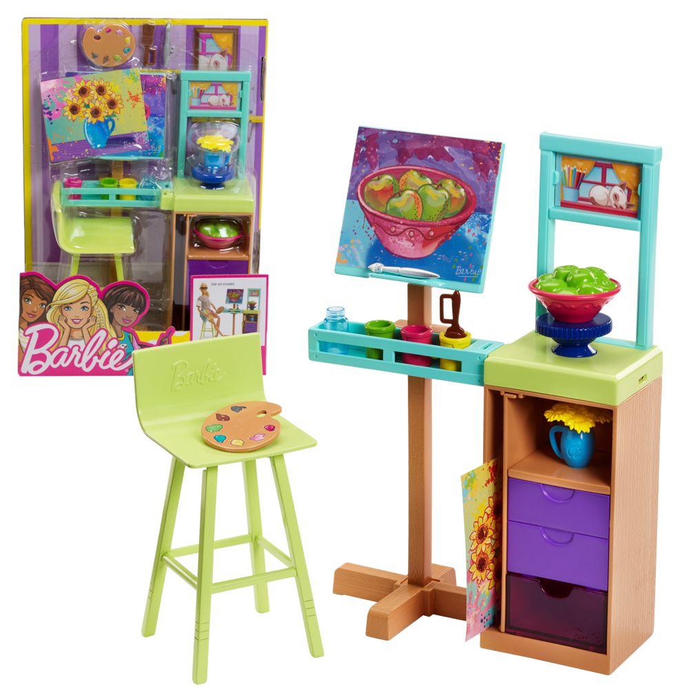 atelier set zubeh r barbie mattel fjb26 einrichtung haus m bel barbie haus m bel. Black Bedroom Furniture Sets. Home Design Ideas