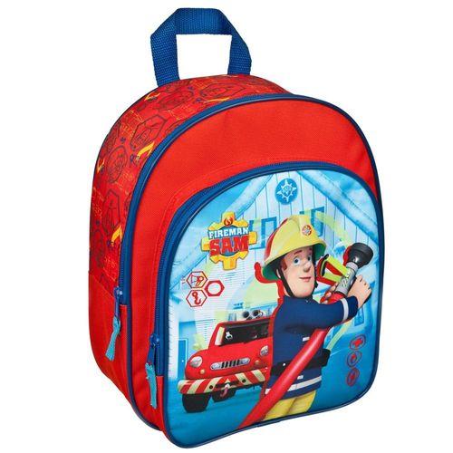 Kinder Rucksack | Feuerwehrmann Sam | 31 x 24 x 10 cm | Blau | mit Vortasche – Bild 1