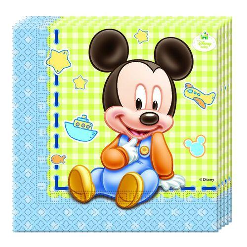 Servietten Micky Baby | 20 Stück | Mickey Mouse | Kinder Geburtstag