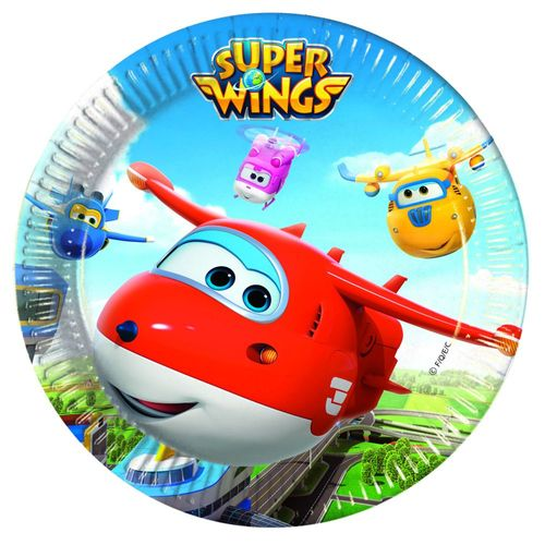 Party-Teller | 23 cm | 8 Stück | Super Wings | Kinder Geburtstag