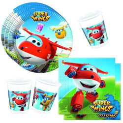Set Party | Einweg-Geschirr | Super Wings | Teller Becher Servietten 001