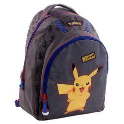 Schul-Rucksack | 40 x 31 x 15 cm | Pokemon | Pika Pika | grau | Kinder Tasche 001