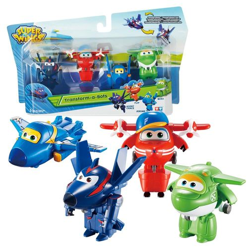 Flugzeuge Agent Chace, Flip, Jerome & Mira | Super Wings | Set Mini Transform – Bild 1