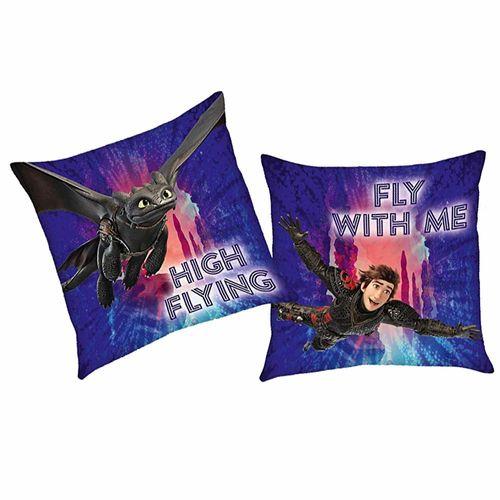Flieg mit mir | Kinder Kissen 40 x 40 cm | DreamWorks Dragons | Dekokissen