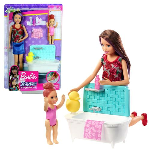 Skipper Babysitter | Barbie | Mattel FXH05 | Puppe & Bad Spiel-Set – Bild 1
