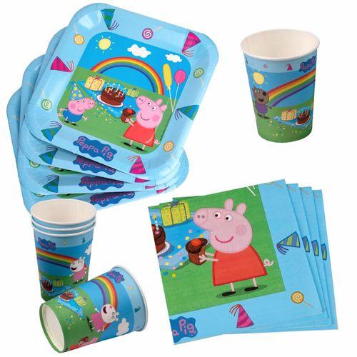 Set Party | Einweg-Geschirr | Peppa Wutz | Peppa Pig | Teller Becher Servietten – Bild 1
