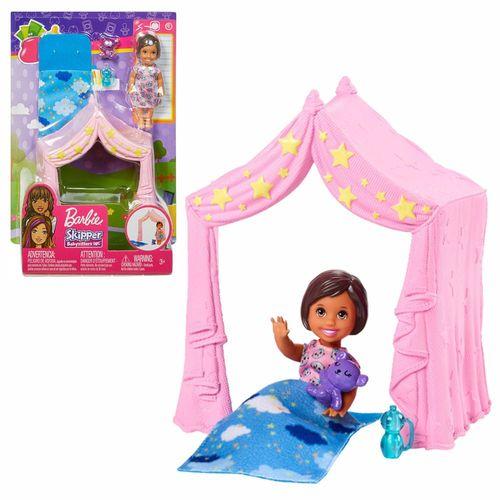 Zelt mit Schlafsack | Barbie Babysitter | Mattel FXG97 | mit Kleinkind Puppe – Bild 1