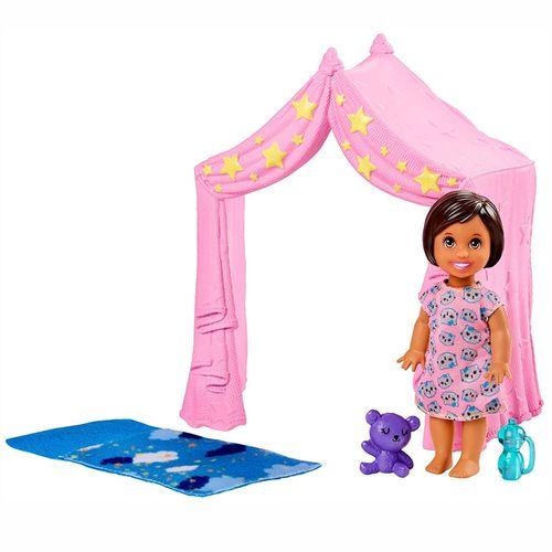 Zelt mit Schlafsack | Barbie Babysitter | Mattel FXG97 | mit Kleinkind Puppe – Bild 2