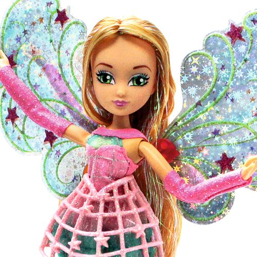 Flora | Cosmix Fairy Puppe | Winx Club | mit beweglichen holografischen Flügeln – Bild 3