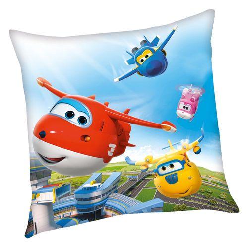Flugübung | Kinder Kissen 40 x 40 cm | Super Wings | Kuschelkissen | Dekokissen