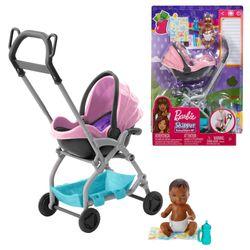 2 in 1 Kinderwagen   Barbie Babysitter   Mattel FXG95   mit Baby Puppe